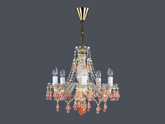 Фото хрустальная рожковая люстра ArtGlass ROSANA V (roz), купить с доставкой на skylight.com.ua
