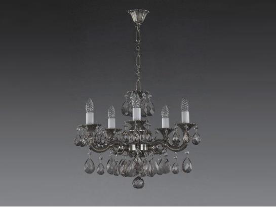 Фото литая рожковая люстра ArtGlass JARMILA V nickel antique 8006, купить с доставкой на skylight.com.ua